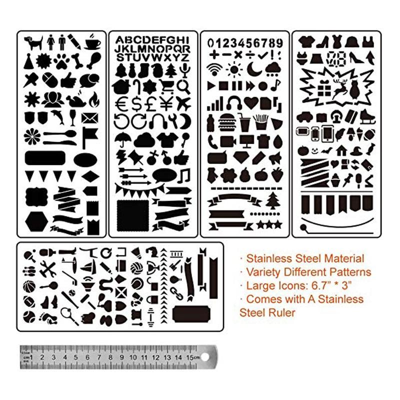 6 pz In Acciaio Inox Ufficiale Stencil con Template Righello per Proiettile Ufficiale Planner Pittura Disegno