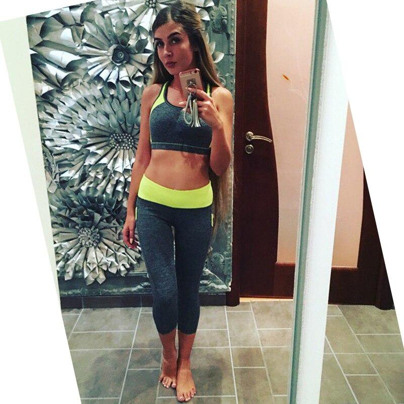 Vertvie Fitness Yoga Suit 2 Pieces Women Patchwork Wirefree Sports Bra + Legging Pants Sports Set Gym Running Jogging Tracksuit