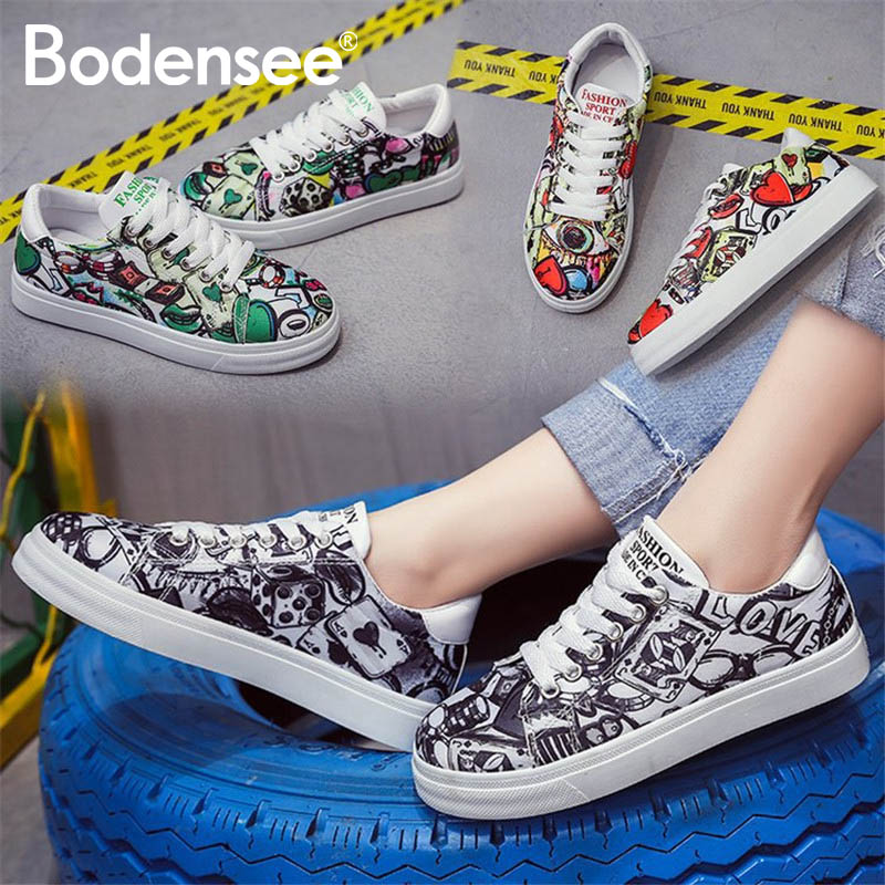 Women Casual Shoes Graffiti Canvas Shoes