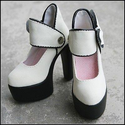 [Wamami] 52 # экрю белый 1/3 DZ DOD AOD SD BJD Dollfie Высокие каблуки Обувь кожаная для девочек