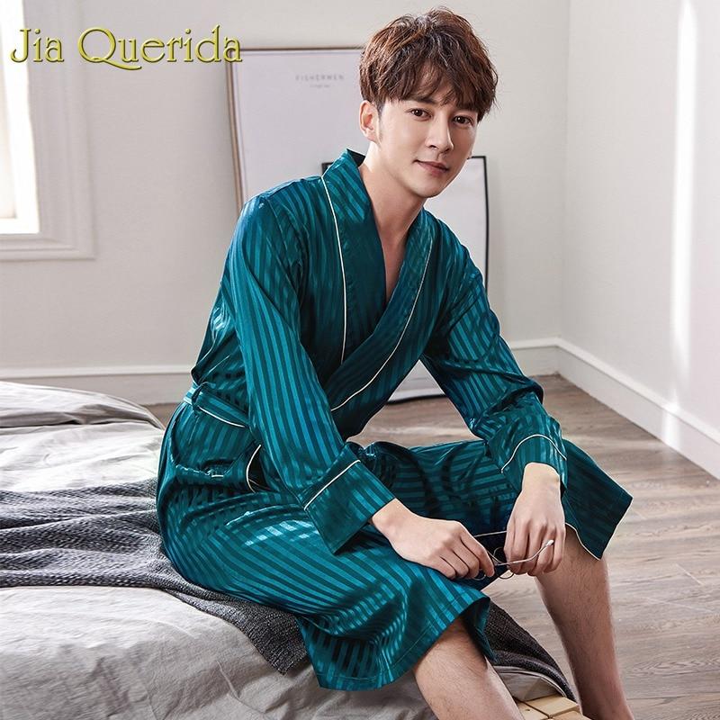 J&Q Bathrobe Badjas 2019 Spring New Kimono Men Bata Hombre Peignoir Satin Silk Classy Homeware Robes Quality Brand Kimono Hombre