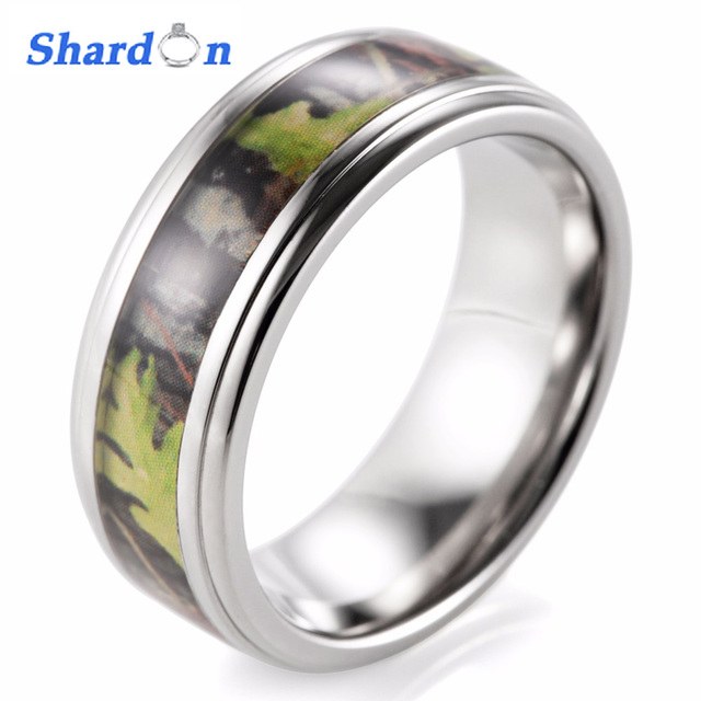 Shardon Mens Camo Wedding Ring Titanium Edges Green Mossy Oak Camo