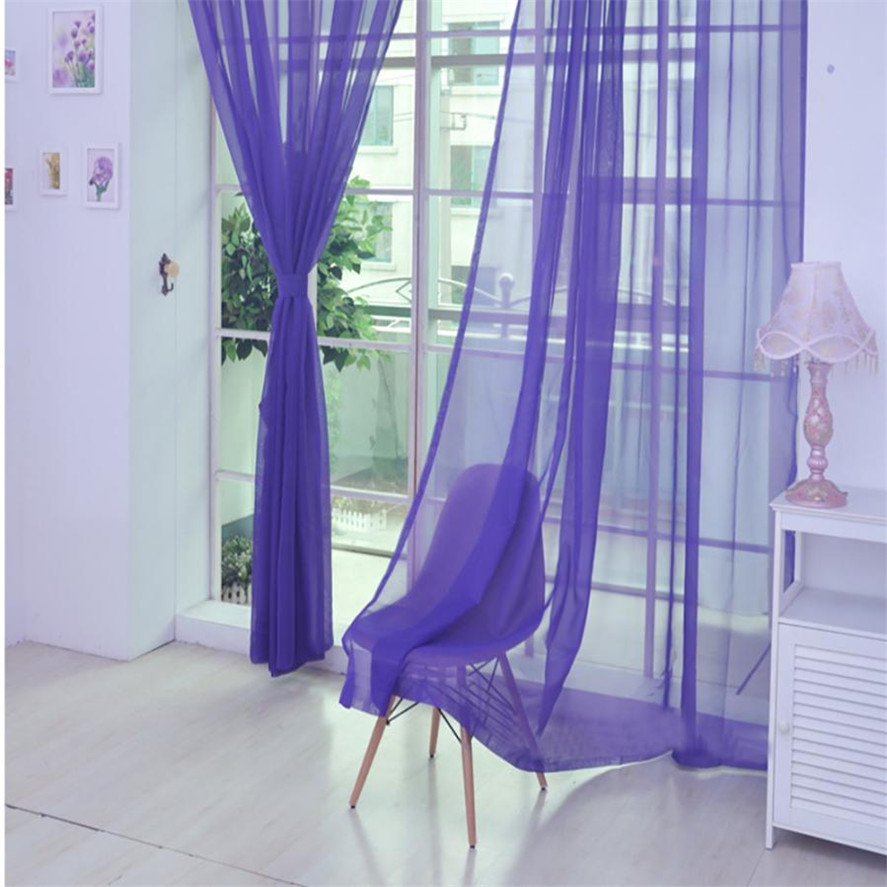 New Summer Voile Curtain 200x100cm Ouneed 1PC Fashion Window Curtain Tulle Window Treatment Voile Drape Valance 1 Panel 5 ...