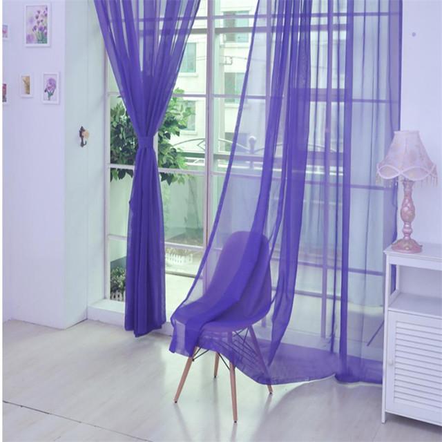 New Summer Voile Curtain 200x100cm Ouneed 1PC Fashion Window Curtain Tulle Window Treatment Voile Drape Valance 1 Panel 5