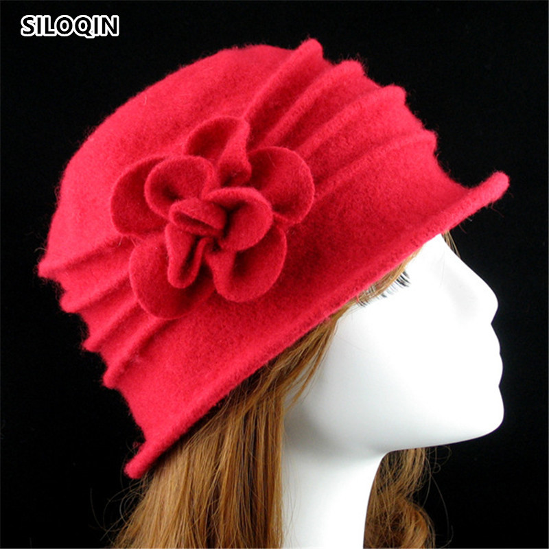 SILOQIN Elegant Woman Winter Hat Panama Ladies Cap Fedoras Hat Autumn Winter Pure Wool Solid Color Flower Fedoras Hats Mom 39 s Hat in Women 39 s Fedoras from Apparel Accessories