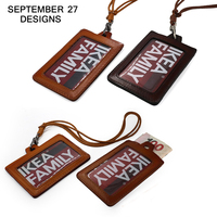 Genuine Leather Card Holders Retractable Pull Ring Chain Reel ID Lanyard Name Tag Card Badge Holder