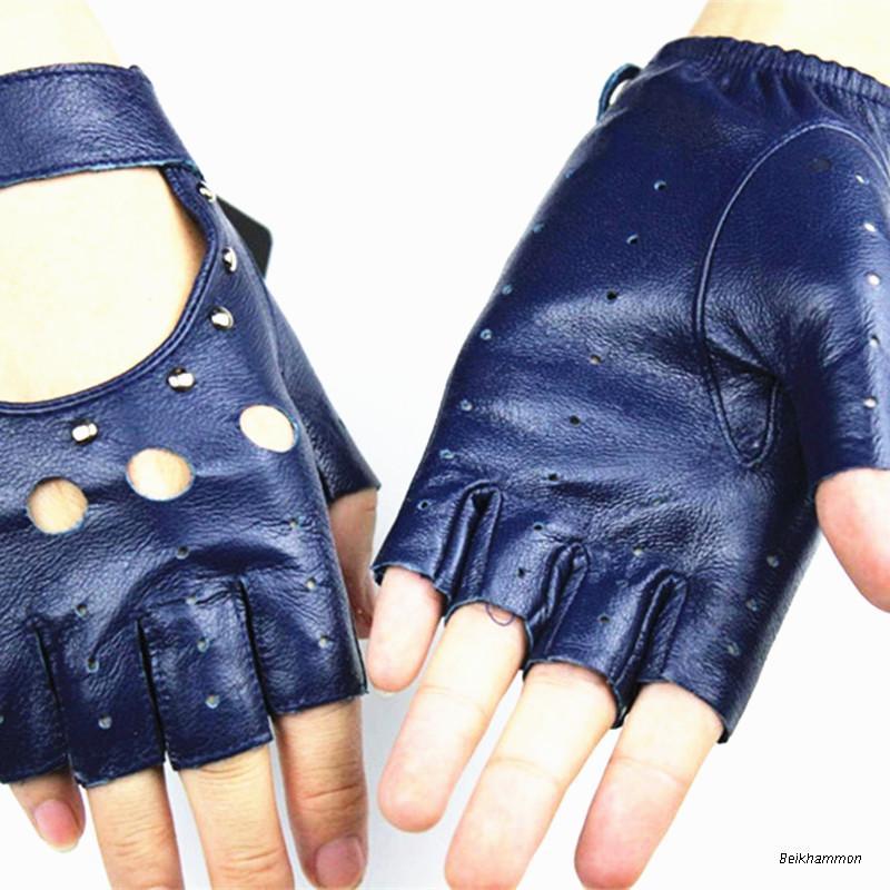 Fingerless Handskar 2017 Ms Fashion Style Hollow Rivet Half Finger - Kläder tillbehör - Foto 2