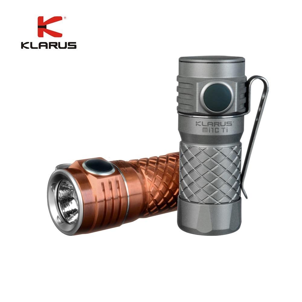 KLARUS Mi1C LED Flashlight Ti/Cu CREE XP-L HI V3 600LM Mini Titanium Torch W/16340 Li-ion Rechageable Battery for Self Defense nitecore mh25gt 1000lm cree xp l hi v3 led rechargeable flashlight torch