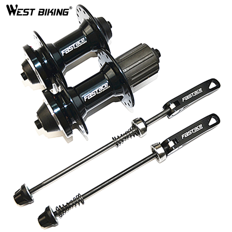 WEST BIKING Road MTB Bicycle Hub Disc Bearing 32-Hole Front and Rear Set Hubs Cubo De Bike MTB Cycling V Brake Disc Brake Hub ultralight bearing hubs mtb mountain bicycle hubs 32 holes 4 bearing quick release lever mountain bike disc brake parts 4colors