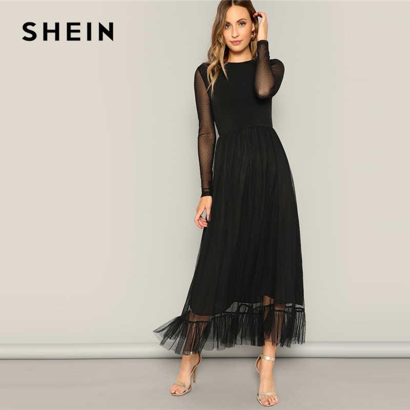 SHEIN/черное платье с оборками и расклешенной сеткой, повседневное женское платье 2019 года, летнее платье с круглым вырезом и длинным рукавом с высокой талией