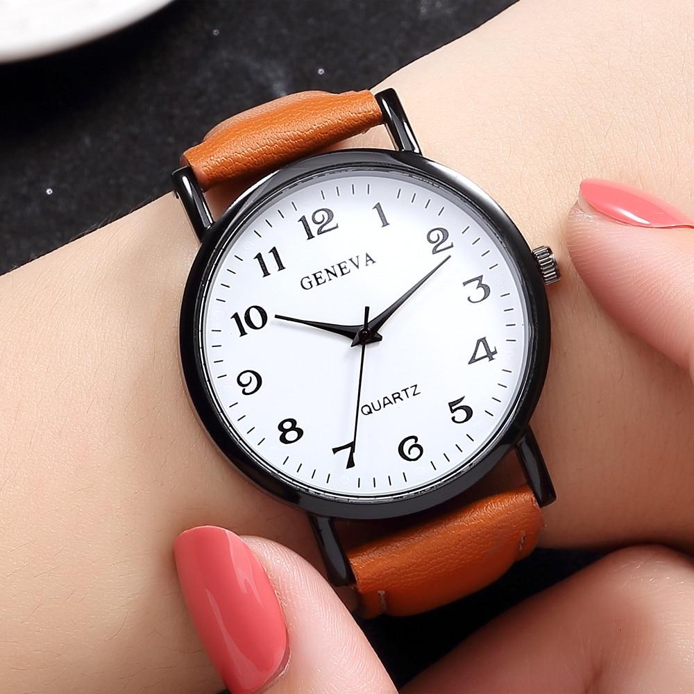 Dropshipping Fashion Geneva Watch Women Simple Analog Leather Quartz Wrist Watches Luxury Brand Dress Women Watch Clock &Ff