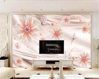Beibehang Schönheit seide mode persönlichkeit tapete rose gold schmetterling liebe blume ornament hintergrund wallpaper für wände 3 d