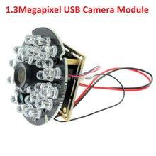 1.3mp 3.6mm lens CCTV Security Webcam module 0.01lux cmos low illumination usb board camera with IR cut &led board