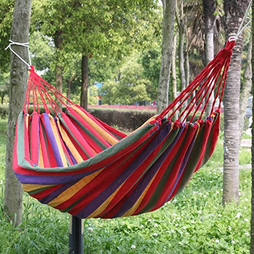 190 X 80cm Portable Outdoor Hammock Garden Sports Home Travel Camping Swing Canvas Stripe Hang Bed Hammock Red