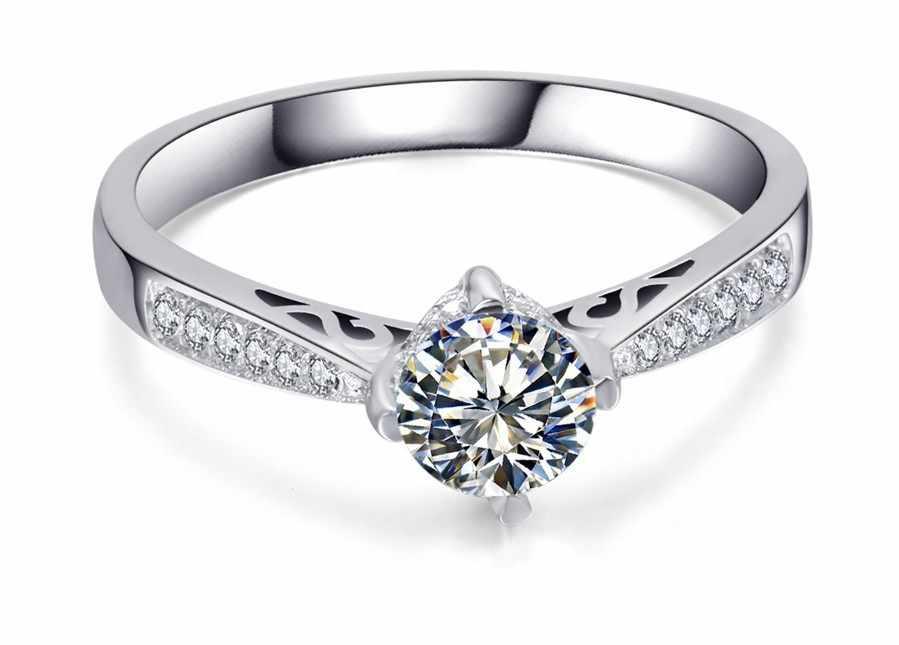 4 pinos Anéis Linda 1Ct Round Cut Solid 925 Esterlina Anel de Prata Nunca Desaparecer Jóias Com Diamantes