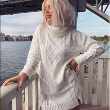 f724a688e38 AisiyiFushi White Turtleneck Hollow Out Coarse Cable Knit Oversized Sweater  Dress