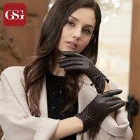 GSG Kadınlar Dokunmatik Deri Eldiven Eldivenler Moda Plise İnce El Yapımı Kış Sıcak Çizgili Bayanlar Parti için Sürüş Eldiven Yay