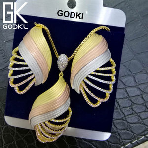 Image 2 - GODKI יוקרה דובאי מעוקב Zirconia עגיל שרשרת סט ניגרי תכשיטי Birdal לנשים אפריקאי חרוזים תכשיטי סטים