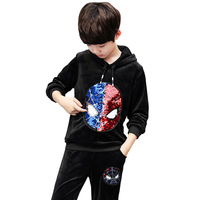 Kids Clothes Sets for Boy New Spring Autumn Children Clothing Cartoon Spider Man Sequin ColorCoat+pant Sport Sets 5 12 Ages
