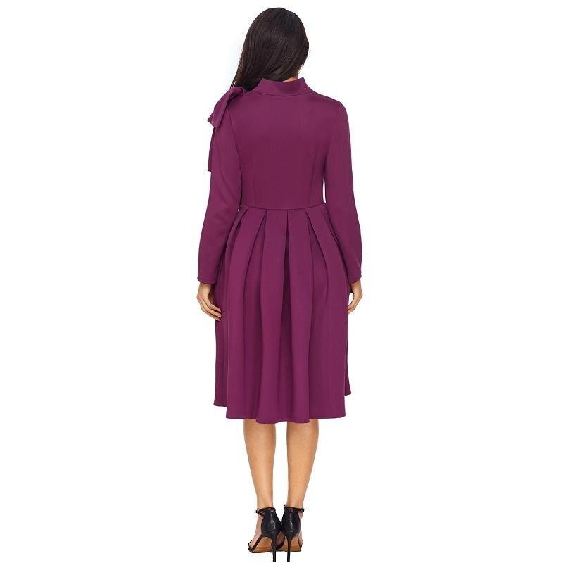 ADEWEL Autumn Long Sleeve A line Women Elegant Dress Vintage High Neck Bowknot Short Flare Party Dress Vestidos De Renda (4)