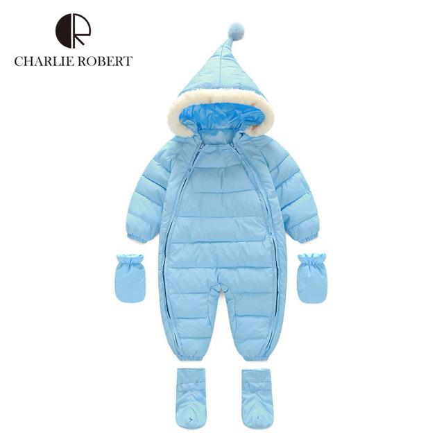 Luvas de inverno Roupa Do Bebê Bodysuits Romper Do Bebê Set Sapatos de Menina Meninos Traje Infantil Snowsuit Criança Com Capuz Para Baixo Macacão Outerwear