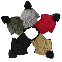 Street fashion Thin Short-sleeved Hoodies sweater Men's Patchwork Solid color T-shirt Black Gray Khaki Red Army green