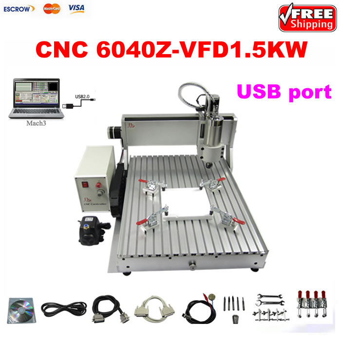 CNC wood engraving machine 3axis 6040 1.5KW USB port CNC cutting lathe 6040 cnc laser engraving and cutting machine