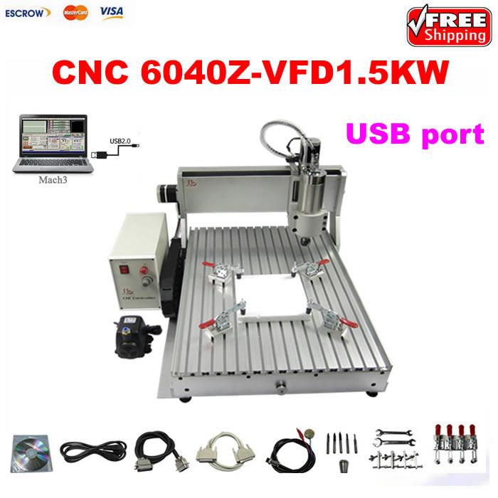 CNC wood engraving machine 3axis 6040 1.5KW USB port CNC cutting lathe 3axis wood cnc machine 3040z vfd800w with usb port