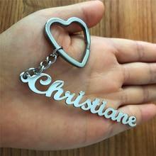 Handmade Personalized Name Pendant Stainless Steel Nameplate Keychain Women Men Customized Keychain Jewelry Birthday Gift