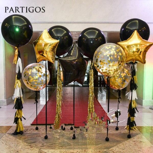 36 inch Giant Black Latex Balloons 18inch Gold Star Foil Balloon Confetti Paper Tassel Wedding Birthday Decor Backdrop Supplies Платье