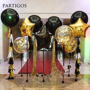 36 pollici Gigante Palloncini In Lattice Nero 18 pollici Oro star Stagnola Palloncino Coriandoli di Carta Nappa Cerimonia Nuziale Di Compleanno Decor Sfondo Forniture