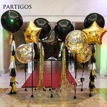 Ballons géants en Latex noirs 18 pouces, confettis, en étoile or, en aluminium, confettis, pompon en papier, fournitures de fond de décoration pour anniversaire et mariage