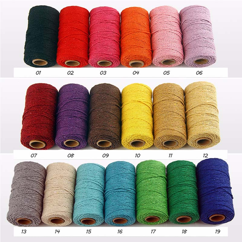 19 Colors Cotton Cords Sewing Thread 100 Yards DIY Wedding Decor Supply Handmade Artisan String Rope Craft Twisted Macrame Cord