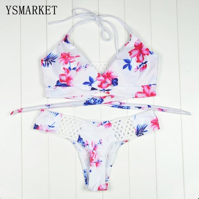 1a18ce95ac Summer New Womens Sexy Floral Print Beachwear Spaghetti Strap Bikinis  Transparent Fishnet Bikini Swimwear Bathing Suit QBK522