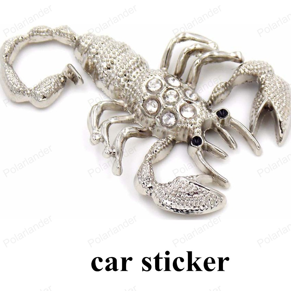 big sale 1pcs new design 3D car styling stereoscopic metal with diamond scorpion car stickers car styling Accessories