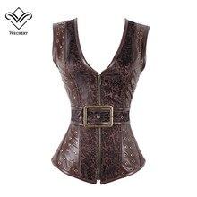 Wechery Коричневый корсет в стиле стимпанк, готическая одежда, сексуальные жаккардовые Корсеты и бюстье из искусственной кожи со стальными косточками и застежкой молнией