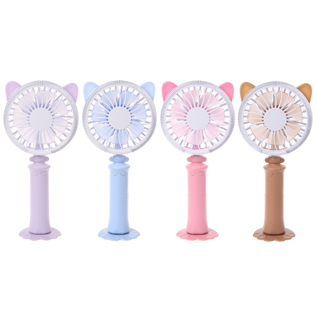 Portable Cat-Ear USB Rechargeable Handheld Fan With Multi-Color LED Light 2 Adjustable Speeds For Indoor Outdoor