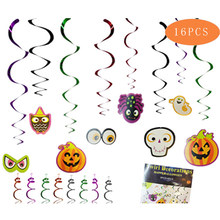 16PCS/Pack Halloween Dangling Swirls Spiral Pendants Hanging Set Witch Ghost Spider Bat Pumpkin Skull Halloween Party Decor(China)
