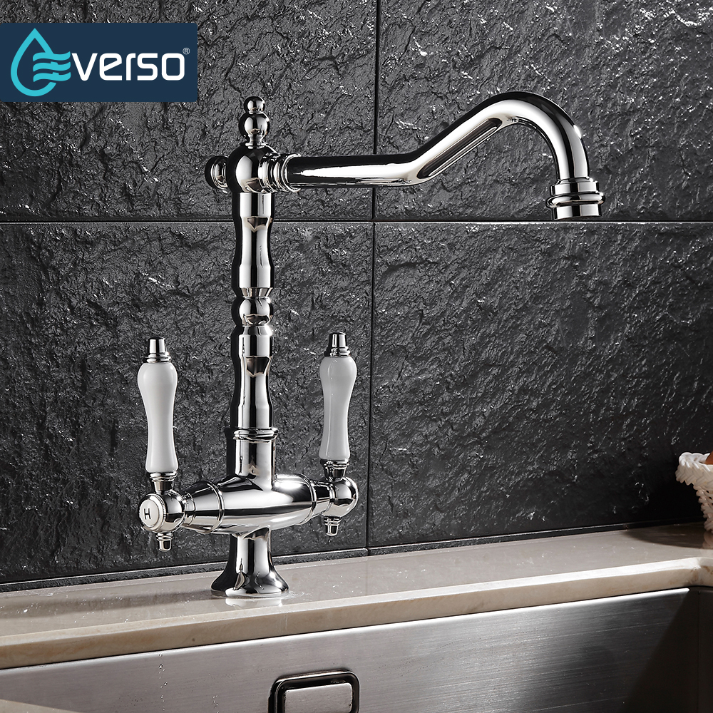 EVERSO 360 Swivel Antique Brass Kitchen Faucets Dual Porcelain Handle Mixer Tap Kitchen Taps Torneira