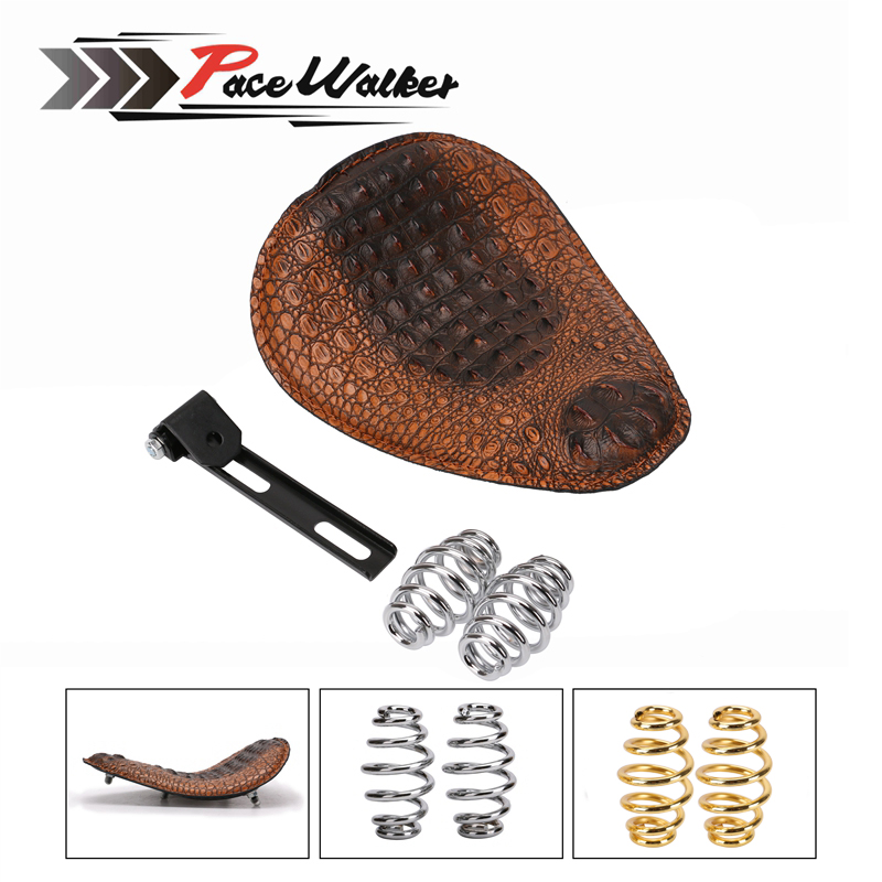 Motorcycle Retro Brown/Black Crocodile Leather Solo Seat+3 Spring Bracket for Custom Chopper Bobber Leather Saddle Seat possbay retro black motorcycle solo seat with mount bracket springs for harley custom chopper bobber leather saddle seat