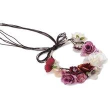 Women Wedding Flower Hair Garland Crown Headband Colored Flowers Handmade Accessories