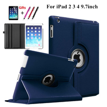 360 degree rotating Litchi grain Leather stents cover Case For iPad 2 3 4 Free Shipping