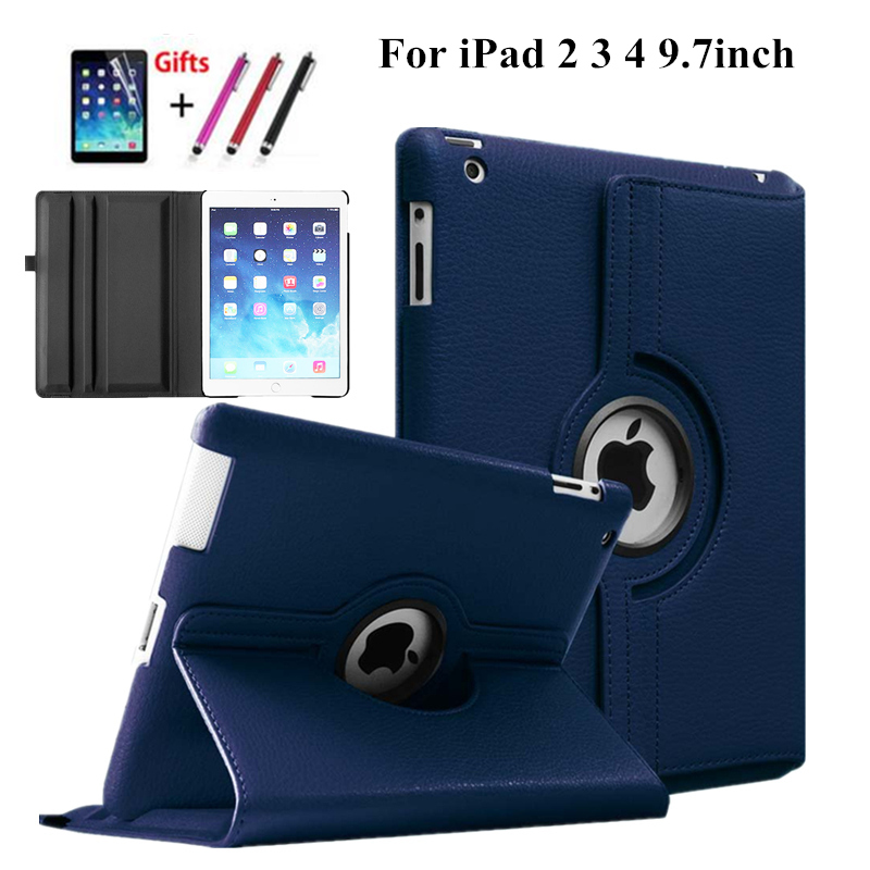 360 Degree Rotating PU Leather Case Cover for apple Ipad 2 3 4 for ipad4 with Retina Smart Stand Magnetic Cover,film and Stylus 3 in 1 top quality pu leather case cover for asus memo pad 8 me181c me181 k011 screen film stylus and