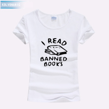 Street Style Tee Shirt Femme 2019 I Read Banned Books Funny Printed T Short Sleeve Cotton Women Harajuku Oversized T-Shirt
