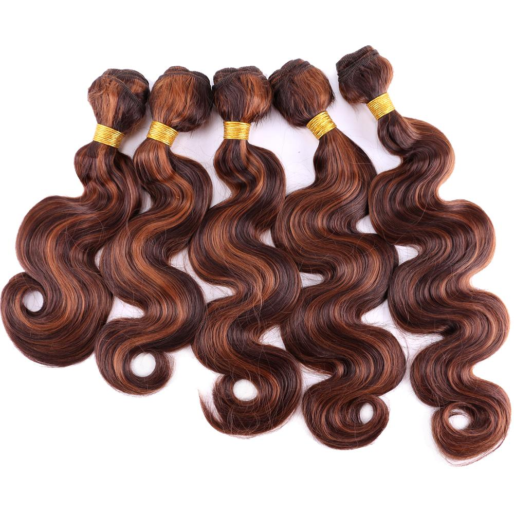 Reyna 12-20 inches Body wave bundles High temperature synthetic hair extension curly weave for black women(China)