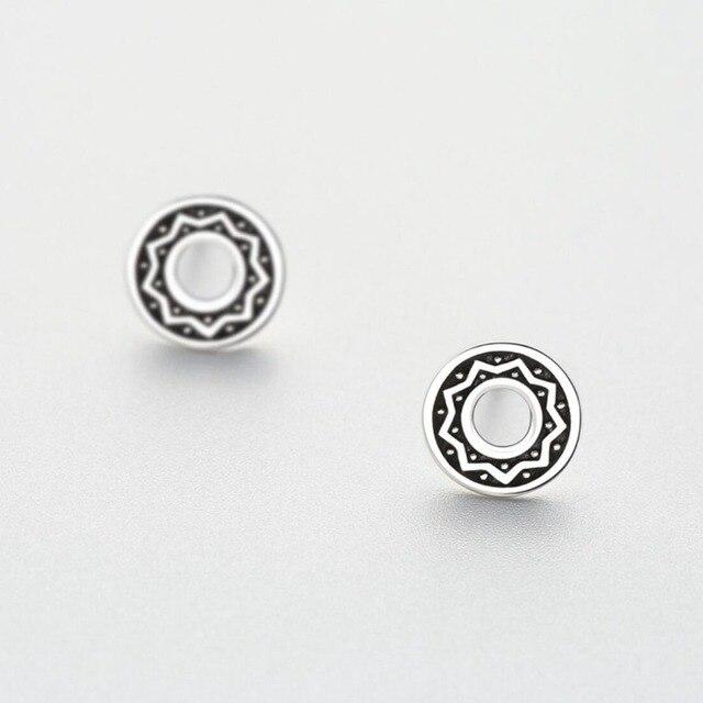 Hemiston 100 925 Sterling Silver Little Round With Star Pattern Female Stud Earrings Jewelry Gift