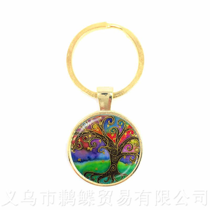 Pohon Kehidupan Pola Gambar Vintage Gantungan Kunci Waktu Kubah Kaca Perhiasan Liontin Gantungan Kunci Gantungan Kaca Ornamen Hadiah untuk Teman-teman