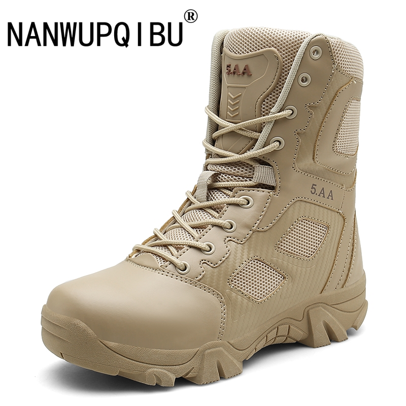 Men High Quality Brand Military Leather Safety Boots Special Force Tactical Desert Combat Men's Boots Outdoor Shoes Ankle Boots