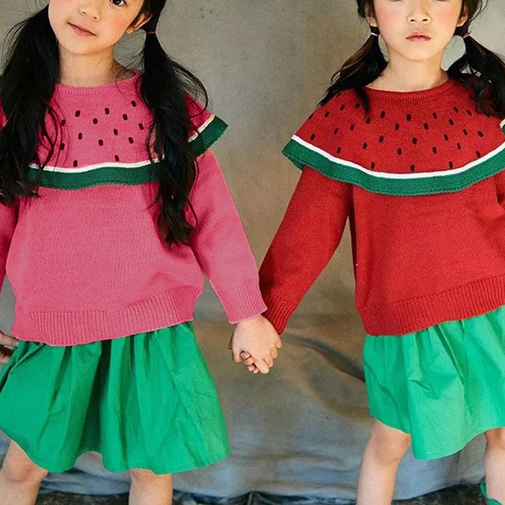 Jungen Kleidung Pullover LiebenswüRdig Newborn Nette Kleinkind Kinder Baby Mädchen Trainingsanzug Einfarbig Heißer Verkauf Langarm Wassermelone Gestrickte Tops Pullover Kleid Für Mädchen