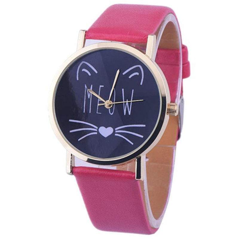 erkek kol saa 2016 Fashion Women Casual Watch Cat Pattern pattern for watchwatch for Girl Quartz մուլտֆիլմ ժամացույցի ժամացույցի ժամեր relogio femino